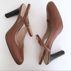 Franco Sarto Percy Brown Leather Sling Back Heels